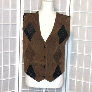 Vintage Learsi leather vest sz small button front